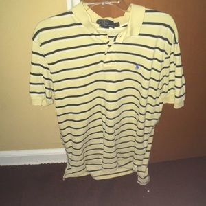Polo Yellow white blue striped